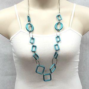 Aqua turquoise geometric shape necklace